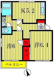 ドリームハイツA棟[2階]の間取り