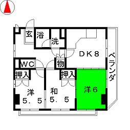 伊藤コーポ八幡[4階]の間取り