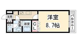 兵庫県伊丹市森本6丁目の賃貸アパートの間取り
