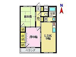 パールマンション 2階2DKの間取り