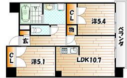 コスモス小倉駅前[10階]の間取り
