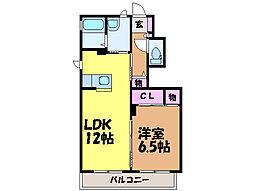 愛媛県松山市北井門2丁目の賃貸アパートの間取り
