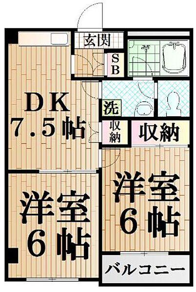 ヴィレヂ・ハピネス3 B棟[3階]の間取り