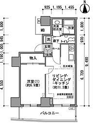 都営大江戸線 汐留駅 徒歩4分の賃貸マンション 33階1LDKの間取り