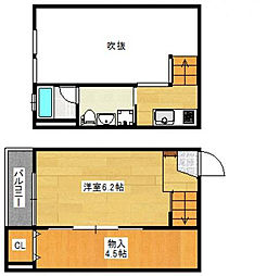 JR鹿児島本線 久留米駅 徒歩10分の賃貸アパート 2階1SKの間取り