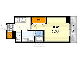 ワールドアイ江坂アルバ 9階1Kの間取り