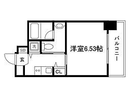 JR東西線 大阪城北詰駅 徒歩2分の賃貸マンション 2階1Kの間取り