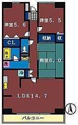 ルーチェ緑ヶ丘A・B・C[B110号室]の間取り
