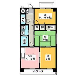 フレイヤ[4階]の間取り