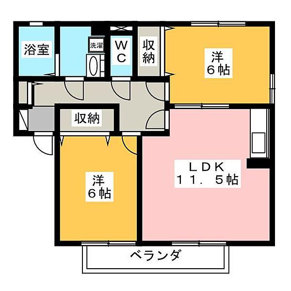 コトーソレイユ A[1階]の間取り
