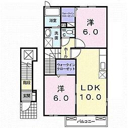 香川県木田郡三木町大字氷上(アパート) 2階2LDKの間取り
