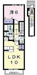岡山県岡山市北区三野3丁目の賃貸アパートの間取り