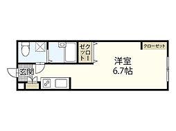 バス 吉島2丁目下車 徒歩5分の賃貸アパート 2階ワンルームの間取り