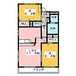 AvenueⅢ[3階]の間取り