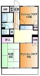 ポンピエール桜ケ丘B[3f号室]の間取り