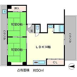 第23長栄京米ビルマンション[4階]の間取り