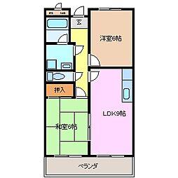 三重県鈴鹿市野町東2の賃貸マンションの間取り
