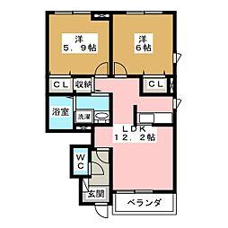サンリットカニラB[1階]の間取り