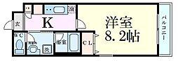 Osaka Metro御堂筋線 東三国駅 徒歩2分の賃貸マンション 4階1Kの間取り