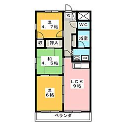 メルベーユ殿岡[3階]の間取り