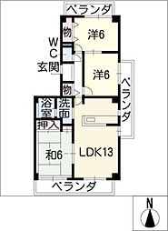 プリンセス三ッ池[2階]の間取り