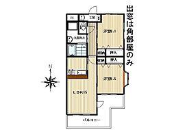 JR常磐線 泉駅 徒歩14分の賃貸マンション 2階2LDKの間取り