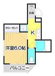 東京都板橋区成増2丁目の賃貸アパートの間取り