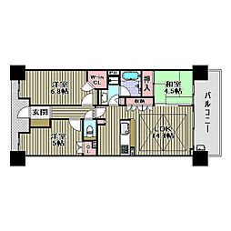 パークシティ堺東タワーズブライト[13階]の間取り
