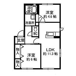 徳島県徳島市西新浜町1丁目の賃貸アパートの間取り