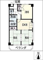 マンション豊泉[5階]の間取り