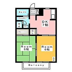 ディアスクレール A[2階]の間取り