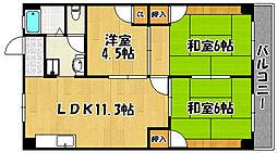 兵庫県明石市東山町の賃貸アパートの間取り