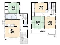 LDK16帖・全居室6以上・南側向き。2ヶ所から出入りできるバルコニーもポイントです。