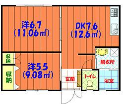 バス 泡瀬二区下車 徒歩2分の賃貸アパート 1階2DKの間取り