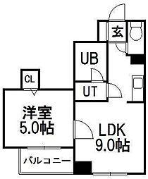 北海道札幌市中央区北六条西13丁目の賃貸マンションの間取り