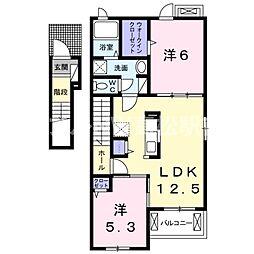 香川県高松市新田町甲の賃貸アパートの間取り