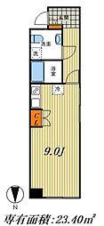 東京メトロ千代田線 北千住駅 徒歩6分の賃貸マンション 5階ワンルームの間取り