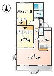 ビアンエトワールB[2階]の間取り