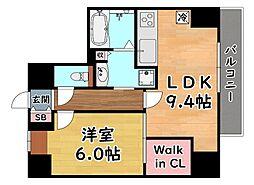 JR東海道・山陽本線 灘駅 徒歩1分の賃貸マンション 9階1LDKの間取り
