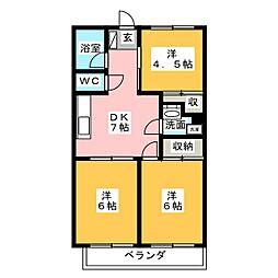 第三元八事ビル[6階]の間取り