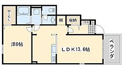 南海線 尾崎駅 徒歩3分の賃貸アパート 1階1LDKの間取り
