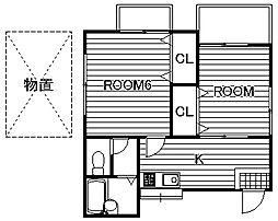 埼玉県春日部市備後東2丁目の賃貸アパートの間取り