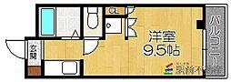 西鉄貝塚線 唐の原駅 徒歩10分の賃貸アパート 2階ワンルームの間取り