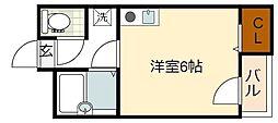 ナニワ3番館 6階ワンルームの間取り