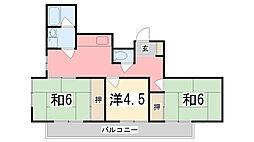 手柄コーポ1号館[5-D号室]の間取り