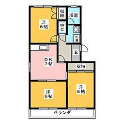 愛知県豊川市萩山町2丁目の賃貸マンションの間取り