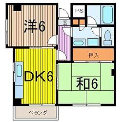 埼玉県志木市上宗岡5丁目の賃貸アパートの間取り