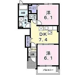 神奈川県横須賀市大矢部3丁目の賃貸アパートの間取り