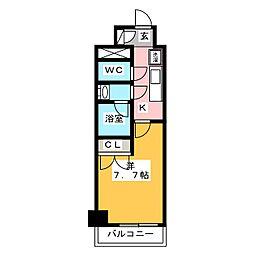 ディームス神楽坂I 6階1Kの間取り