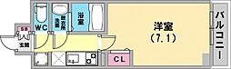 レジデンス神戸大倉山グルーブ 4階1Kの間取り